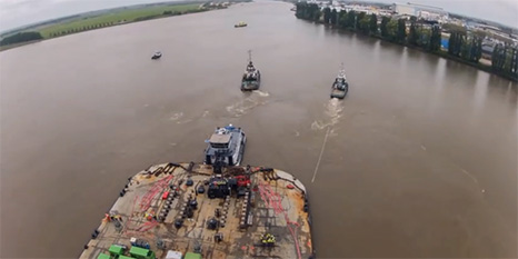Pilotage of the Heerema Barge H542 loaded with the Dolwin Alpha